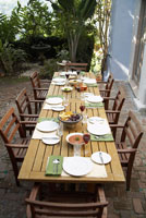 Table On Patio Set For Dinner