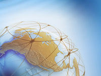 World Globe with Connection Lines