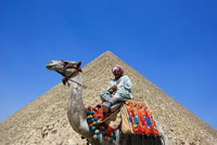 Man on Camel By Pyramids of Giza