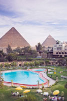 Overview of Hotel Pool and Pyramids