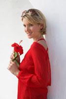 Portrait of Woman Holding Flower