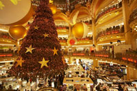 Interior of Galeries Lafayetteat Christmas, Paris, France