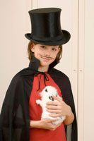 Boy Dressed as Magician, HoldingRabbit