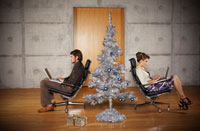 Couple at Home with ChristmasTree