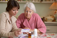 Women Reading Medication Labels