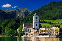 Village Buildings on Lake,Saint Wolfgang, Salzkammergut,Aust