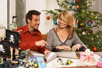 Couple Wrapping Presents