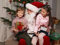 Portrait of Children With Santa
