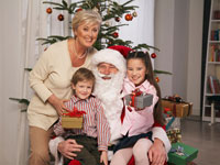 Portrait of Family With Santa