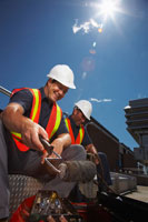 Workers Sitting Outdoors