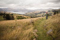 Hiker in Akaroa Heritage Park