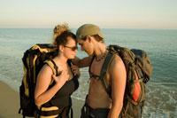 Backpackers on Beach