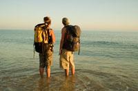 Backpackers in Water