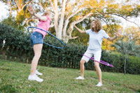 Mother and Daughter Hula-Hooping