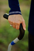 Close-up of Woman Holding Cane