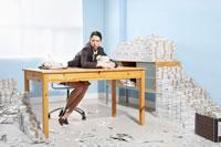 Businesswoman Surrounded byMoney