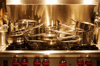 Pots and Pans Stacked on Stovetop 20025249848| 写真素材・ストックフォト・画像・イラスト素材|アマナイメージズ