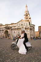 Newlyweds on Scooter, Modena,Italy