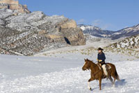 Cowgirl Riding Horse,Wyoming, USA