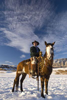 Cowboy Riding Horse in Winter,Wyoming, USA