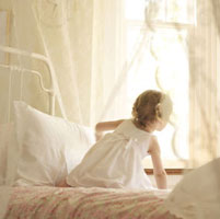 Little Girl in Bedroom, LookingOut Window