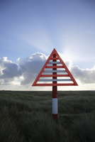 Caution sign in remote area, Sylt North Frisian Islands, Germany