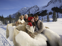 People with sled horses in snow