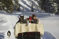 Couple with sled horses in snow 20025271952| 写真素材・ストックフォト・画像・イラスト素材|アマナイメージズ