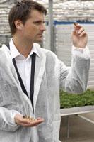 Businessman examining seed ingreenhouse