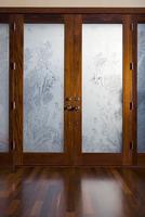 Front door with underwater etchings in the glass