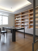 Modern home office with shelves