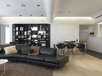 Leather sofa in modern great room