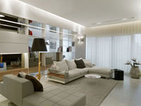 Modern living room with leatherfurniture