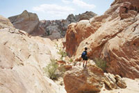 Woman Hiking in Fire Canyon