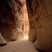 Jordan, Petra, Rock formation, temple in background