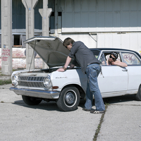 Couple with oldtimer