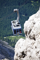 Austria, Tyrol, Ehrwald, Cabins of a cable car in mountain scenery