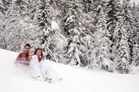 Couple on sleigh