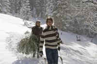 Austria, Salzburger Land, Altenmarkt, Young couple in snowscape, carrying a fir tree 20025288851| 写真素材・ストックフォト・画像・イラスト素材|アマナイメージズ