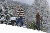Austria, Salzburger Land, Altenmarkt, Young couple in snowscape, transporting fir tree 20025288853| 写真素材・ストックフォト・画像・イラスト素材|アマナイメージズ