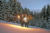 Austria, Salzburger Land, Altenmarkt, Young couple carrying fir tree at dusk 20025288859| 写真素材・ストックフォト・画像・イラスト素材|アマナイメージズ