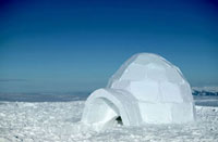 traditional igloo in mountains