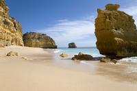 Portugal, Algarve, Sandy beach and rocks