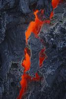 Reunion Island, Piton de la Fournaisse Volcano, lava flow