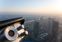 Germany, Frankfurt on the Main, view of the town, telescope in the foreground