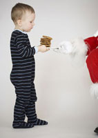 Boy Carrying Plate of Cookies for Santa