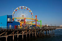 Ferris wheel on a pier,Santa Monica Pier,Santa Monica