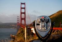 Coin-operated binoculars with a bridg,Golden Gate Bridge