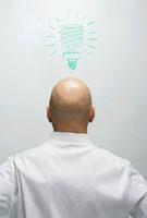 Businessman with Lightbulb Drawn above Head