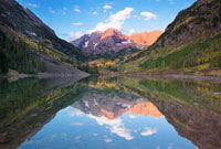 Maroon Bells Reflecting in Maroon Lake in Autumn at Sunrise